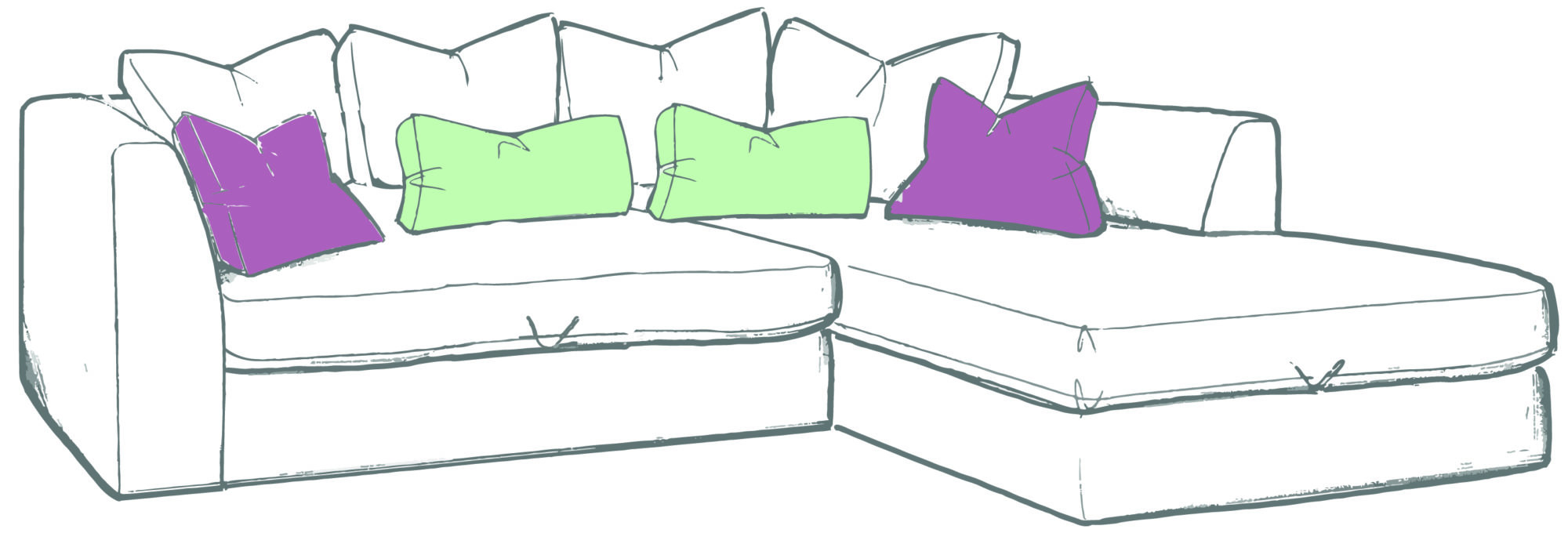 Bossanova small chaise sofa rhf colour 01 whitemeadow